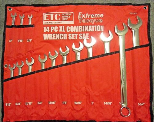 """14 pc Extra Long SAE Combination Wrench Set 3//8/"""" to 1-1//4/"""" XL Extreme Torque ETC"""
