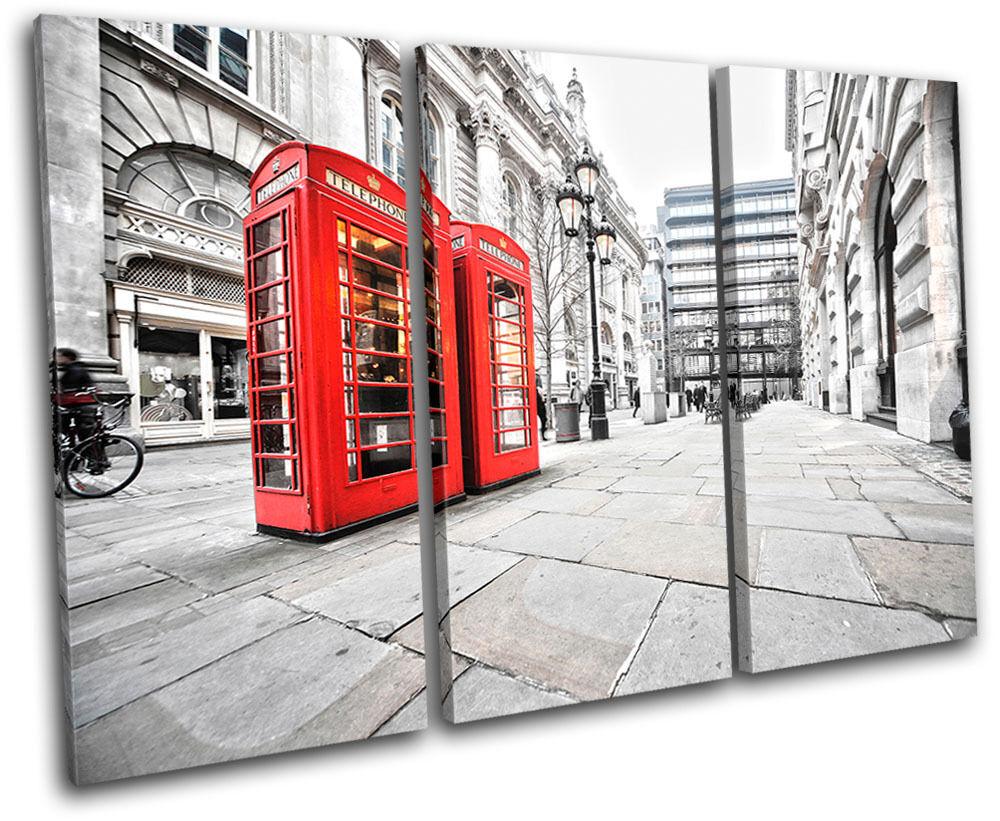 London arte Phonebox Red City TREBLE LONA pared arte London Foto impresion ac7874