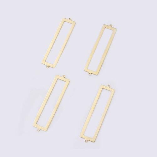 10Pcs Raw Brass Open Rectangle Charms Connector Pendants Jewelry Making Findings