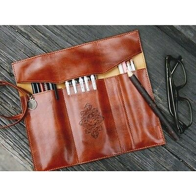 Faux Leather Cosmetic Make Up Brush Bag Case Pen Pencil Pouch Stationery Purse