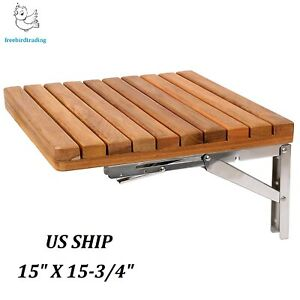 Details About 15 X 3 4 Teak Wall Mount Fold Down Shower Bench Seat Stainless Steel Bracket
