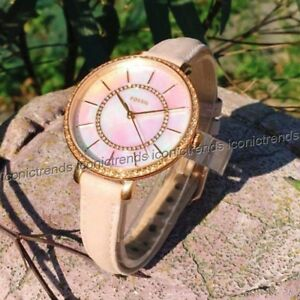 NWT-Fossil-ES4455-Jocelyn-Rose-Gold-Tone-Blush-Pink-Leather-MOP-36mm-Watch