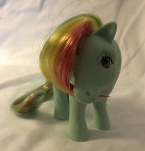 Vtg-1983-My-Little-Pony-SUNLIGHT-RAINBOW-Hair-G1-80-039-s-Glitter-Sun-Clouds-MLP