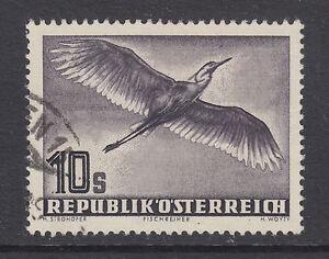 Austria-Sc-C59-used-1953-10s-grey-violet-Grey-Heron-fresh