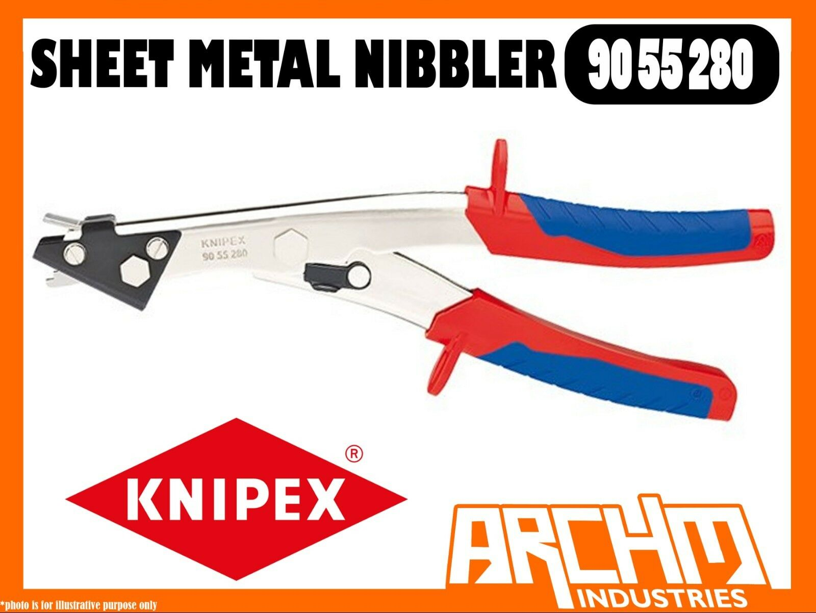 KNIPEX 9055280 - SHEET METAL NIBBLER - 280MM - CUTTING CLEAN CUT EDGES