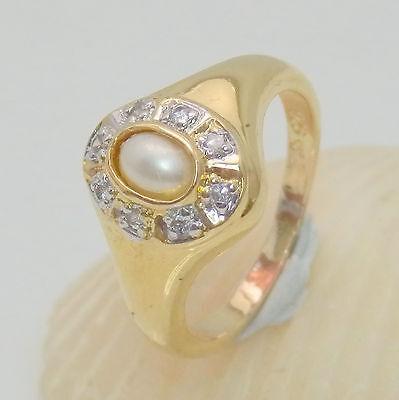 1061.Perlenring,Silberring 925 Silber vergoldet RG 53 (16,8 mm Ø) Zirkonia
