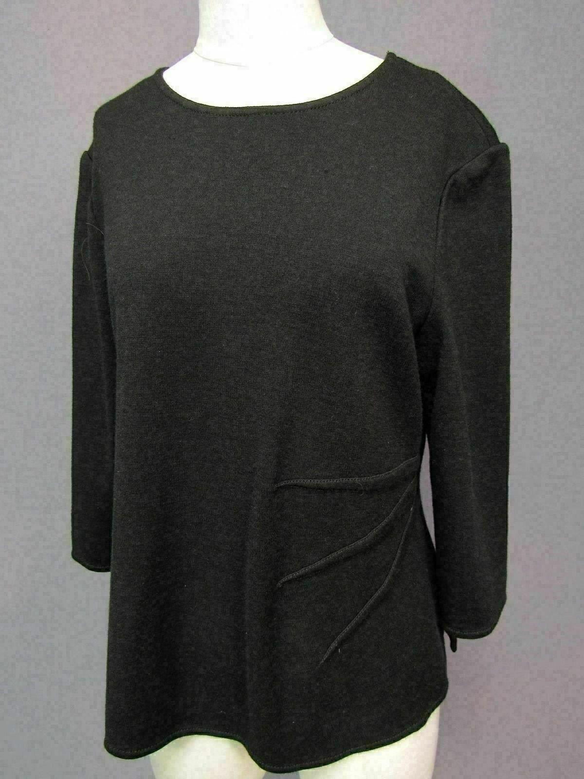 St John schwarz Zip Back 3 4 Sleeve Wool Blend Top Größe Large