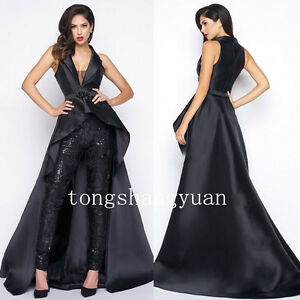 New-Lace-Black-Suits-Pants-Long-Train-High-Low-V-Neck-Evening-Cocktail-Dresses