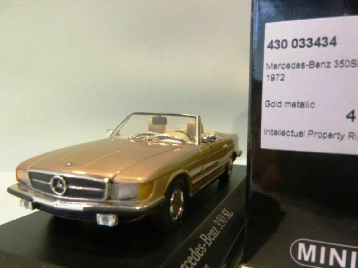 WOW EXTREMELY RARE Mercedes W107 R107 350SL Cabriolet 72 gold m 1 43 Minichamps