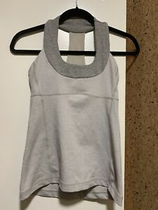 Lululemon-Scoop-Neck-Tank-Top-Mesh-Racerback-Size-4-Gray-Built-In-Bra