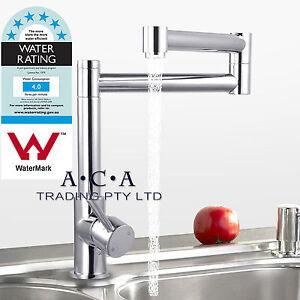 Kitchen-Folding-Spout-Vanity-Twin-Swivel-Faucet-Sink-Basin-Mixer-Tap-Commercial