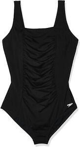 Speedo-Womens-Swimwear-Black-Size-10-Shirred-Ruched-Square-Neck-Swimsuit-82-289