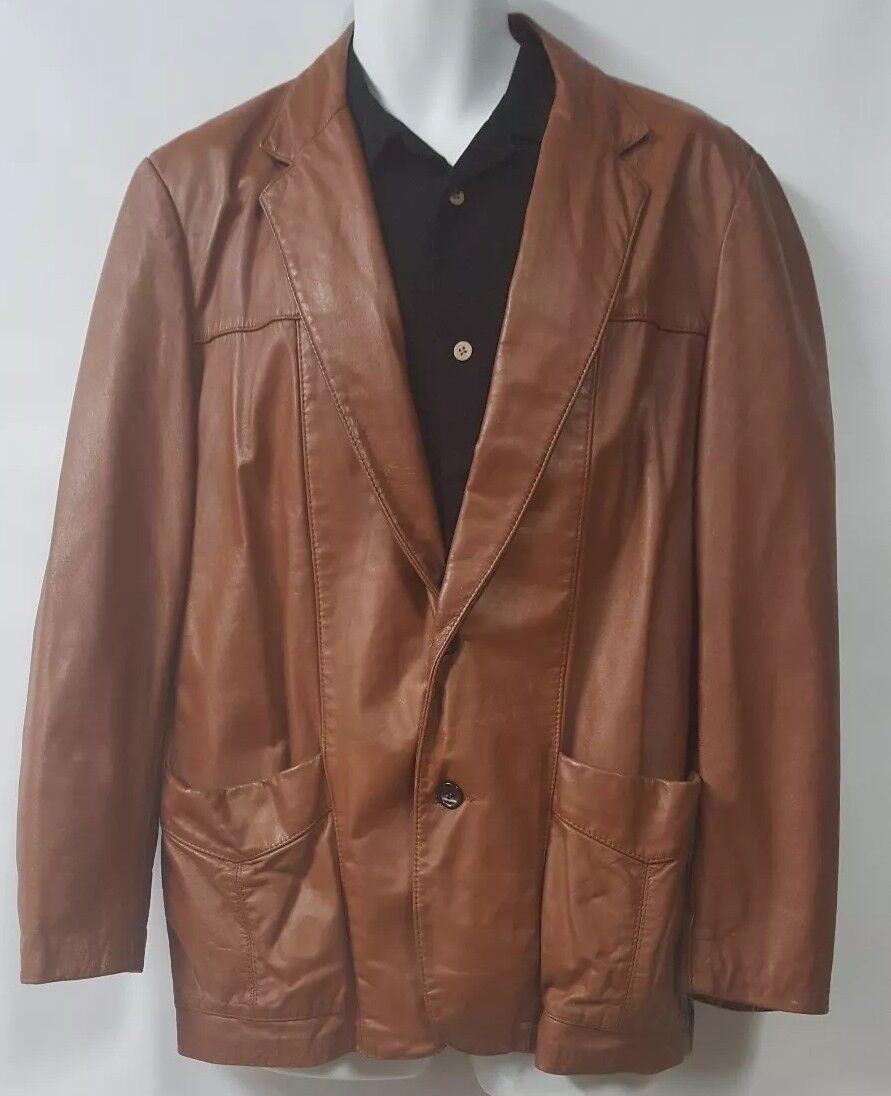 SILTON  Brown Leather 70s  Blazer Sport Coat Siz… - image 1