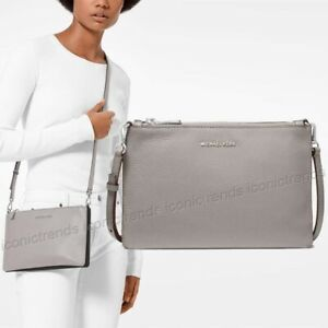 NWT-Michael-Kors-Large-Double-Pouch-Leather-Crossbody-Bag-Pearl-Grey-Black