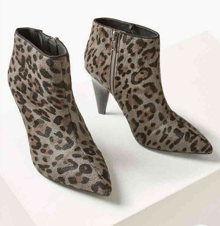 M&S SIZE 8 42 GREY LEATHER ANIMAL PRINT ANKLE BOOTS NEW MARKS AND SPENCER