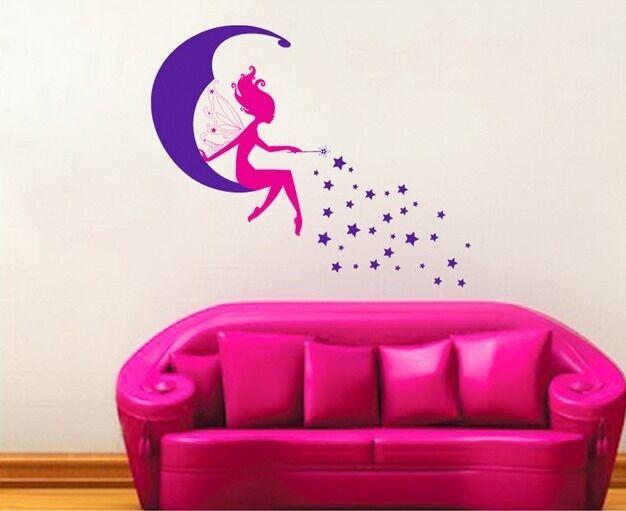 Pink Fairy Spirit Purple Moon Star Wall Decal Sticker Home Decor Vinyl Art