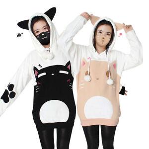 Neko-Atsume-Cute-Cat-Backyard-Hoodie-Women-039-s-Sweater-Pullover-Sweatshirt-Coat