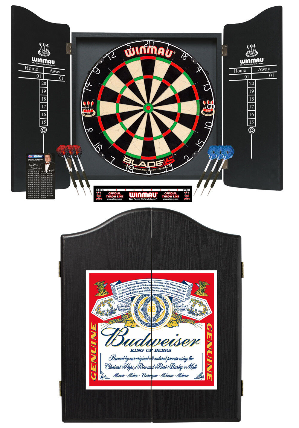 Deluxe Winmau Budweiser Complete Dart Set with Blade 5 Professional Dartboard