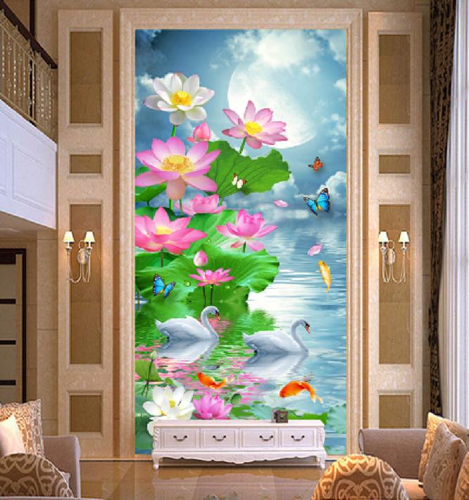 3D Lotus Mond See 89 Fototapeten Wandbild Fototapete Bild Tapete Familie Kinder   Exquisite (mittlere) Verarbeitung    Hochwertig    Sehr gelobt und vom Publikum der Verbraucher geschätzt