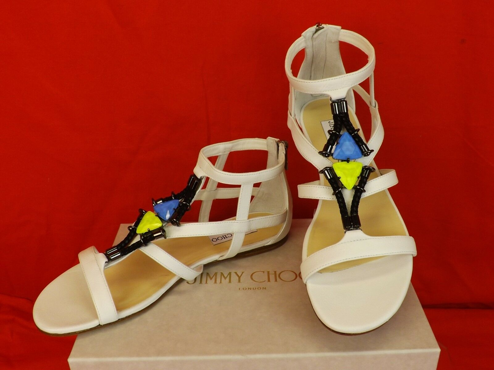 Jimmy Choo Nano en en en blancoo Joyas Jaula Pisos Gladiadores Sandalias 38  625  tienda