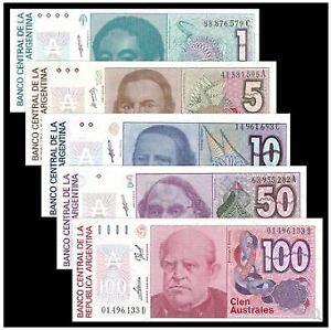 Argentina-Set-1-5-10-50-100-Australs-UNC-5-1-5-10-50-100
