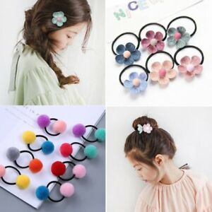 Girl's Accessories Girl's Hair Accessories The Cheapest Price 1pcs Lovely Flower Gray Ball Elastic Hair Bands Toys For Girls Handmade Bow Headband Scrunchy Kids Hair Accessories For Womens Making Things Convenient For Customers