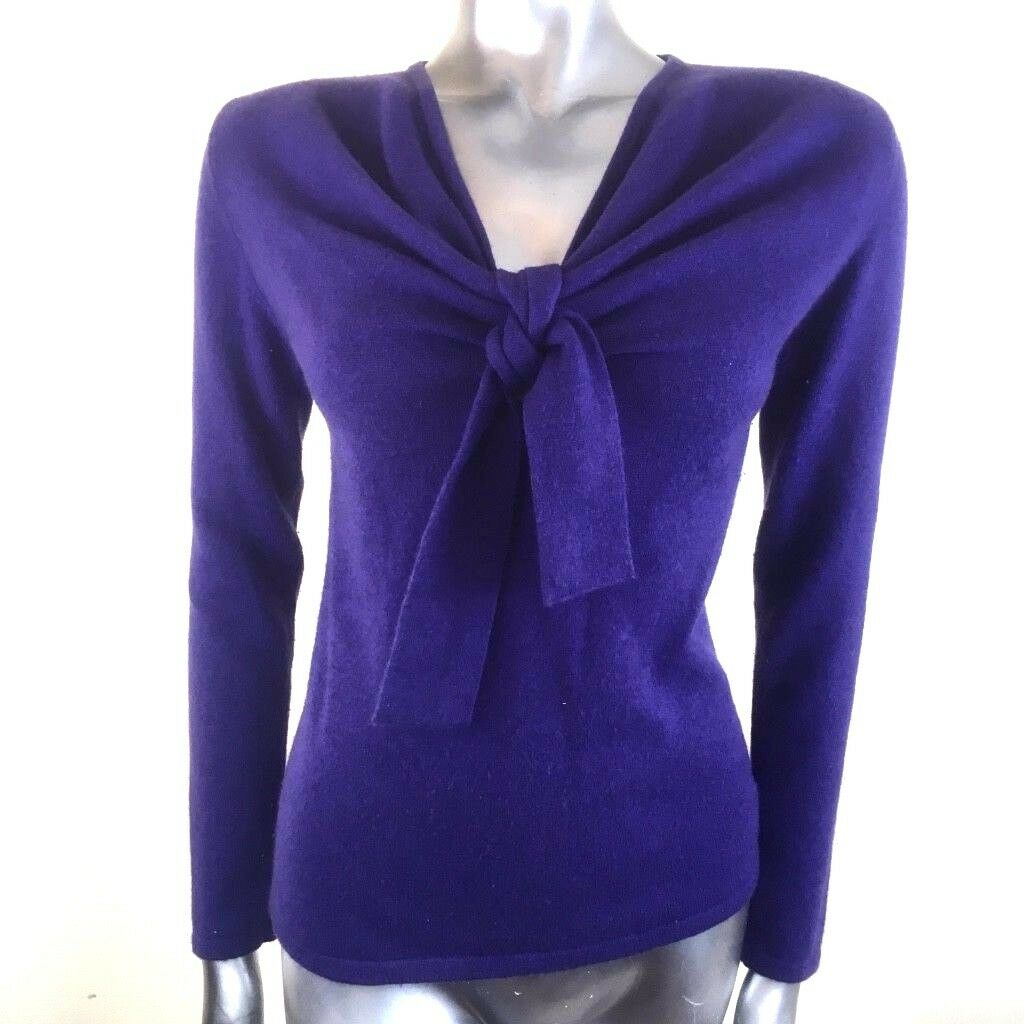 Belinda Robertson 100% Cashmere Jumper Pussy Bow Purple Front Knot Tie  Small
