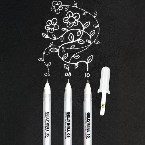 Sakura Gelly Rolle Zeichnung /& Schreiben 3er Set Stifte Hell Weiß 08 M Federn