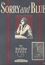 Sorry & Blue Sheet Music Piano Guitar Voice Ukulele Maurie Sherman 1925