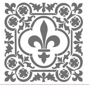 Shabby chic vintage stencil pochoir France meubles mur textile rideaux a3