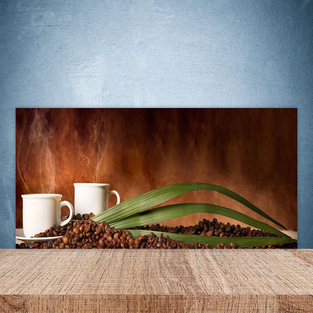 Crédence de cuisine en verre Panneau Paroi 100x50 Cuisine Tasses Café En Grains