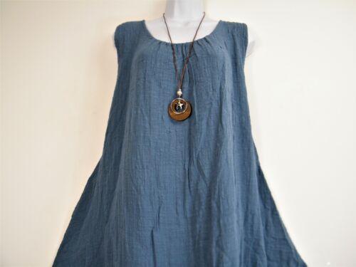 LagenLook 95/% Viscose Summer Dress/&Necklace 10Colours Plus size fits sizes 16-20
