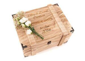 Personalised-Engraved-Wedding-Wooden-Keepsake-Memory-Chest-Memory-Box-Vintage