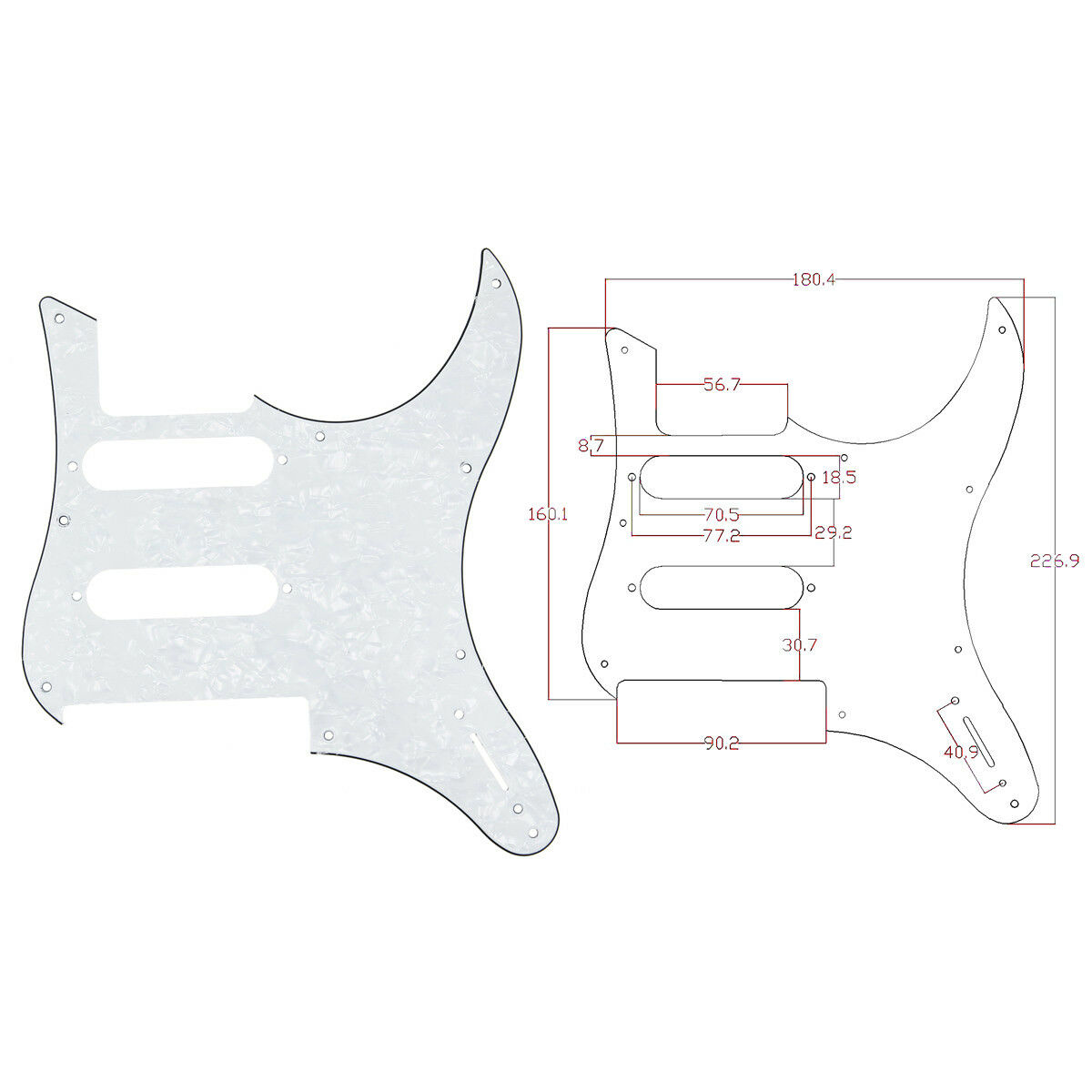 white pearl guitar pickguard for yamaha pacifica 112v replacement parts 3 ply 634458588225 ebay. Black Bedroom Furniture Sets. Home Design Ideas