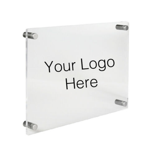 Office Wall Plaque CUSTOM TEXT LOGO Quality Clear Acrylic Panel Perspex A3 A4