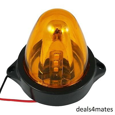 2 MINI LED SPINNING FLASH AMBER WARNING SIGNAL BEACON LIGHT LAMP TRUCK LORRY ROTATING SPINNING CAR VAN 12V