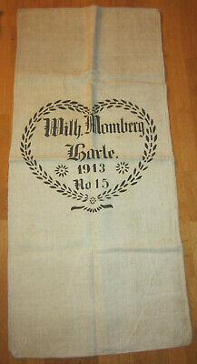 Momberg Harle 1913 Modischer Stil; In Antiker Leinensack Mehlsack Getreidesack Mit Aufdruck Wilh