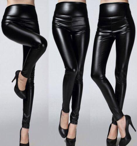 10-12 UK SIZE M LADIES HIGH WAIST BLACK FAUX LEATHER FULL LENGTH LEGGINGS