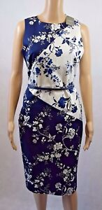 144412282e1f Bnwt Oasis Navy & White Floral Print Belted Pencil Dress - UK 10 ...
