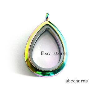 nouveau-style-Plain-Drop-Flottant-Charme-Medaillon-Memoire-Vivante-Rainbow-Medaillon
