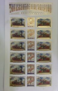 USPS Forever Stamps Uncirculated Sheet TRANSCONTINENTAL RAILROAD 150 YEARS