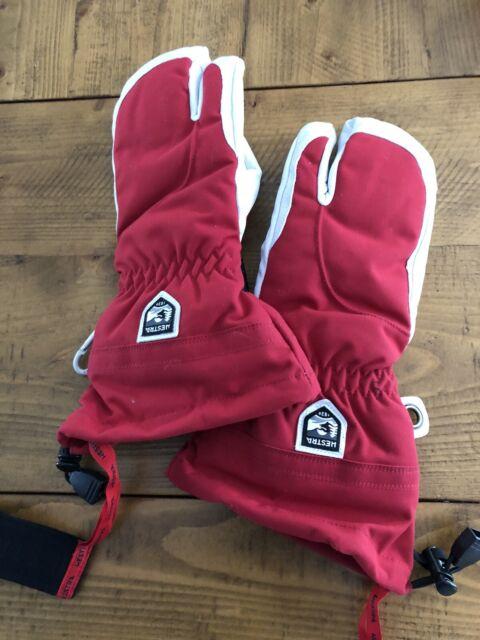 Hestra Army Leather Heli 3 Finger Ski Gloves Navy 8 For Sale