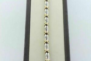 11ct-Round-Cut-Diamond-14K-White-amp-Yellow-Gold-Over-Channel-Set-XO-Link-Bracelet