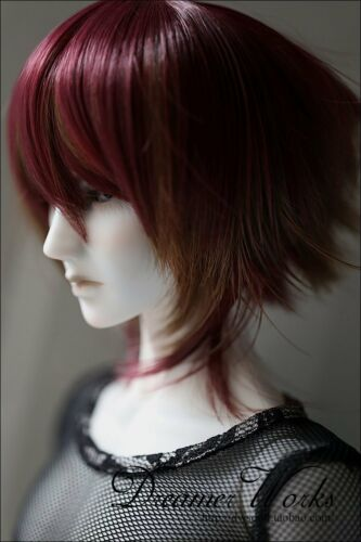 Bjd Doll Wig 1//3 8-9 Dal Pullip SD DOD LUTS Dollfie WINE RED Mix Brown Toy Hair
