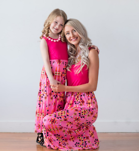 hot-Mother-and-Daughter-Casual-Boho-Striped-Maxi-Dress-Fitted-Set-outfits-Family