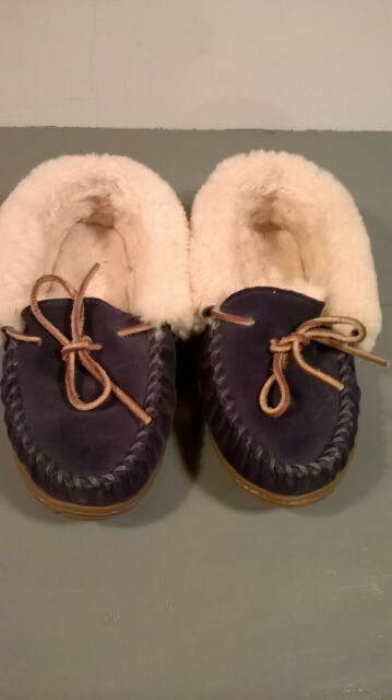 LL Bean Women's Size 6 Blue Suede Moccasin Wicked Good Slippers Sherpa Lined