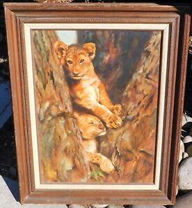 Vintage-oil-canvas-signed-Lenzi-Lion-cubs-24-x-18