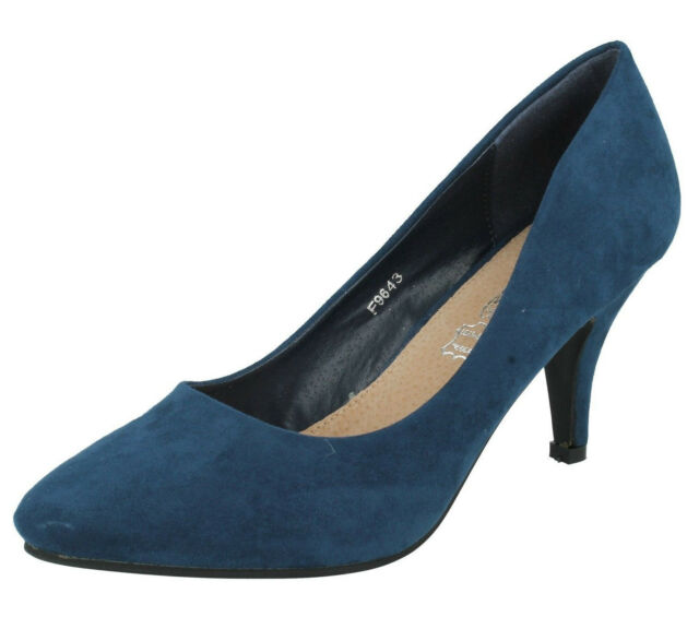 Spot On F9R643 Ladies Navy Suede Effect Court Shoes UK 3 to 8 (R1A)