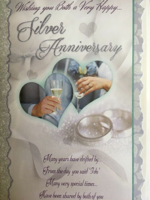 Silver Wedding Anniversary Card - Loving Words
