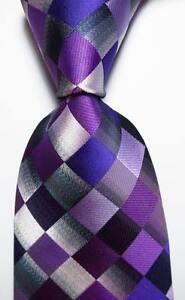 New-Classic-Checks-Purple-Gray-Black-JACQUARD-WOVEN-100-Silk-Men-039-s-Tie-Necktie